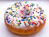 Doughnut with coloured sugar sprinkles
