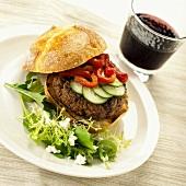 Hamburger with salad garnish