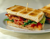 Toasted BLT sandwich with toothpick