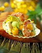 Seafood and Fruit Ararnged on a Scallop Shell