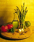 Still Life with Artichoke, Asparagus, Spices, Tomato and Oil