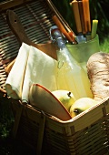 Picnic Basket with Bread and Pears; Lemonade