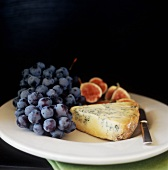 Stilton Cheese with Concord Grapes; Figs