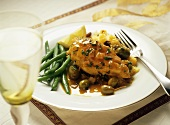 Chicken Breast with Olives; Cous Cous and Green Beans