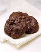 Double Chocolate Chip Cookie on White Cloth