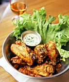 Bourbon Chicken Wings with dip