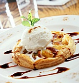 Pear tart with vanilla ice cream