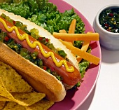 A Hot Dog with Relish, French Fries and Corn Chips