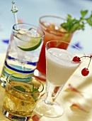 Four Cocktails: Bloody Mary, Pina Colada, Gin and Tonic and Scotch on the Rocks