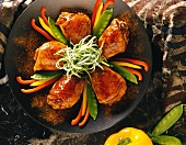 Glazed Chicken with Bell Peppers and Snow Peas