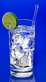 Gin and tonic in glass with ice cubes and lime