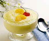 A Bowl of Tapioca Pudding with Orange Slices and a Maraschino Cherry