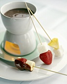 Chocolate Fondue with Angel Food Cake and Fruit