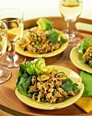 Chicken salad with coriander leaves from Vietnam; white wine