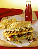 Muffuletta sandwich with chicken