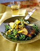 Barbecued salmon with avocado & mango salsa & frizzy endive