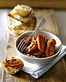 Grilled tomatoes with herbs and toasted garlic bread