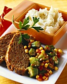 Meatloaf with Tomatoes, Okra and Corn; Mashed Potatoes