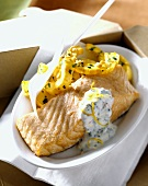Salmon fillet with pumpkin and crème fraiche