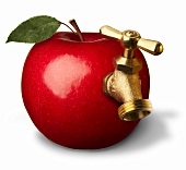 Apple with a tap (symbolising apple juice)