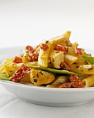 Penne with Chicken. Snow Peas and Red Peppers