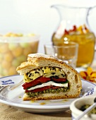 Pane ripieno (Bread filled with mozzarella & vegetables)