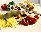 Still life with pasta, vegetables and mushrooms