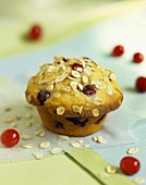 Cranberry muffin with rolled oats