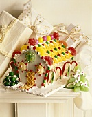 Richly decorated gingerbread house