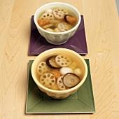 Gemüsesuppe mit Lotuswurzeln (Japan)