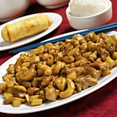 Cashew Chicken with White Rice and an Egg Roll