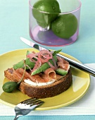 A Slice of Whole Grain Bread with Prosciutto and Avocado