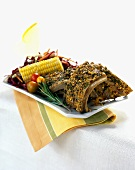 Herb Encrusted Ribs with Corn on the Cob and Cole Slaw