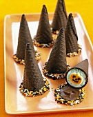 Chocolate Cones Filled with Mint Ice Cream and Pumpkin Candies