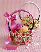 Rose Easter Basket with Pink & Yellow Pearl Eggs