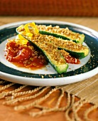 Breaded Zucchini with Tomato Sauce