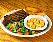 Surf & Turf with Mixed Vegetables and Garlic Toast
