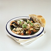 Cioppino (seafood stew) with bread