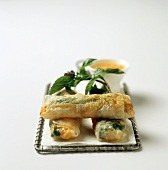 Spring rolls garnished with mint