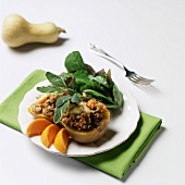 Butternut Squash with Soy Sausage Stuffing