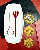 Still Life with Platter, Utensils, Glass and Coasters