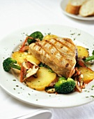 Grilled Swordfish Over Vegetables