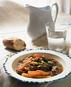 Beef ragout with carrots in soup plate