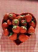 Fresh Ripe Strawberries in a Heart Shaped Bowl