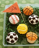 Sports Ball Cupcakes for Bake Sale