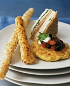Hors d'oeuvres: Phyllo Cheese Straw, Corn Cake with Black Beans & Smoked Salmon Sandwich