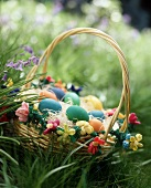A Bright and Colorful Easter Basket in the Grass