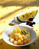 Melon Balls in a Bowl with Lime Zest