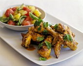 Spicy BBQ Chicken with Tomato and Melon Salad