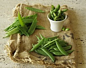Snow Peas, Sugar Snap Peas and Soybeans on a Piece of Burlap